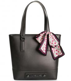 Love Moschino Dark Grey Scarf Large Tote