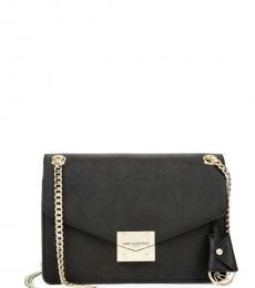 Black White Colorblocked Medium Shoulder Bag