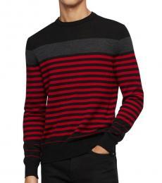 Calvin Klein Charcoal Striped Wool-Blend Sweater