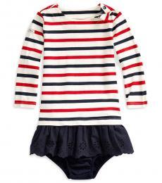 Ralph Lauren Baby Girls Clubhouse Cream Striped Dress