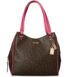 Calvin Klein Brown Punch Monica Signature Large Hobo