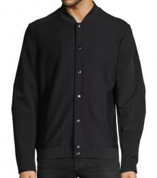 Karl Lagerfeld Black Buttoned Bomber Jacket