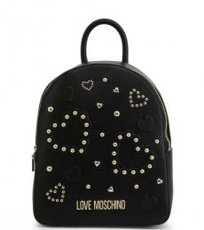 Love Moschino Black Studded Heart Medium Backpack
