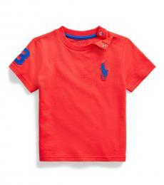 Ralph Lauren Baby Boys Racing Red Big Pony T-Shirt