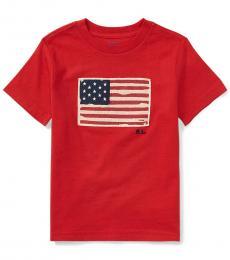 Ralph Lauren Little Boys Red Flag T-Shirt