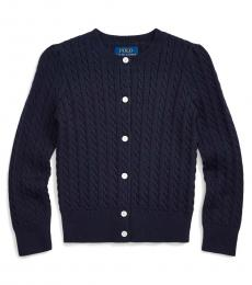 Little Girls Navy Cable-Knit Cardigan