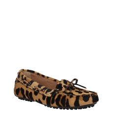 Car Shoe Leopard Print Leather Loafers