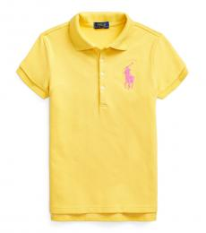 Girls Signal Yellow Big Pony Polo