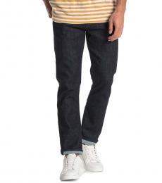7 For All Mankind Navy Blue Straight Squiggle Jeans