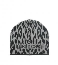 Roberto Cavalli Black-Grey Jaguar Beanie