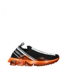 Dolce & Gabbana Black Fluo Orange Logo Sneakers