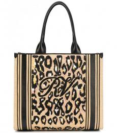 Roger Vivier Black Natural Shopper Large Tote