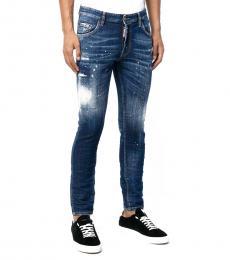 Dsquared2 Dark Blue Paint Splatter Skinny Jeans