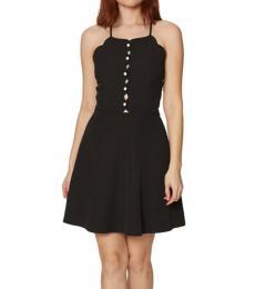Black Scalloped Pearl Button Dress