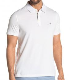 White Gingham Trim Woven Polo