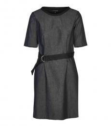 Grey Crew Neck Belted Dress