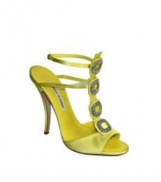 Yellow Satin Jeweled Heels