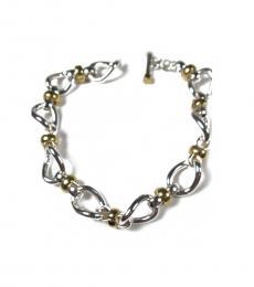 Ralph Lauren Silver Two-Tone Twist Link Toggle Bracelet
