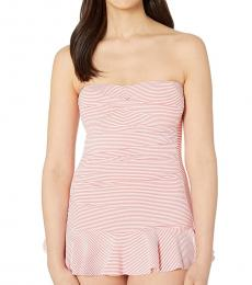 Coral Stripe Twist Skirted One-Piece