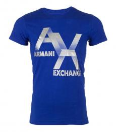 Armani Exchange Royal Blue Slim Fit Logo T-Shirt