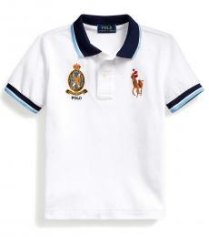 Little Boys White Big Pony Crest Polo