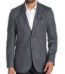 Vince Camuto Dark Grey Houndstooth Lapel Slim Fit Blazer