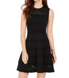 Black Mesh Knit Fit & Flare Dress