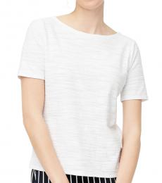 White Crinkle Crew-Neck Top