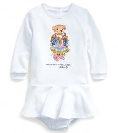 Baby Girls White Madras Bear Dress