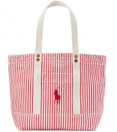 Ralph Lauren Red/White Striped Large Tote