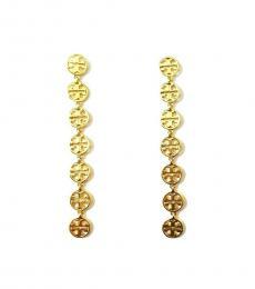 Tory Burch Gold Linear Logo Drop Earrings