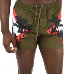 Neil Barrett Olive Printed Boxer Swimsuit