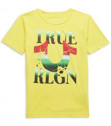 True Religion Boys Yellow Cracked Logo T-Shirt