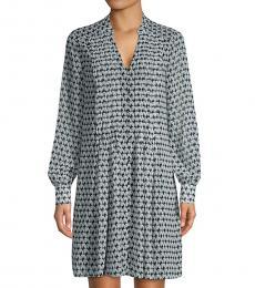 Diane Von Furstenberg Geo Blue Printed Split-Neck Dress