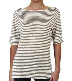 Ralph Lauren White Striped Cuffed Sleee T-Shirt