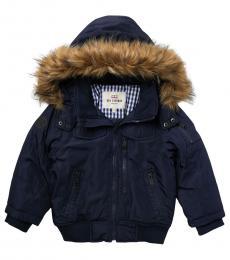 Ben Sherman Little Boys Navy Faux Fur Hooded Bomber Parka Jacket