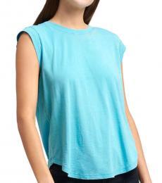 DKNY Turquoise Raw Edge Cap Sleeve T-Shirt