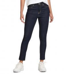 DKNY Dark Indigo Rinse High-Rise Skinny Jeans