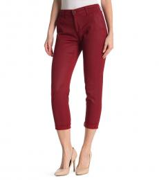 AG Adriano Goldschmied Leatherette Lt Red Amaryllis Caden Straight Crop Jeans