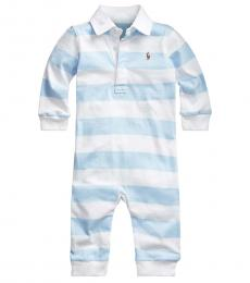 Baby Boys Beryl Blue/White Striped Rugby Coverall