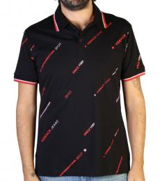 Versace Jeans Black Front Logo Polo