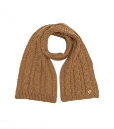 Michael Kors Dark Camel French Cable Knit Scarf