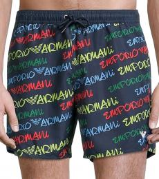Emporio Armani Dark Blue Logo-Print Swim Trunks