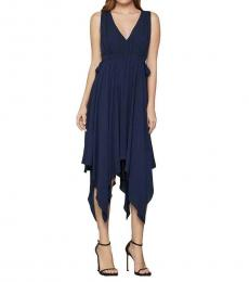 BCBGMaxazria Dark Navy Handkerchief-Hem A-Line Midi Dress