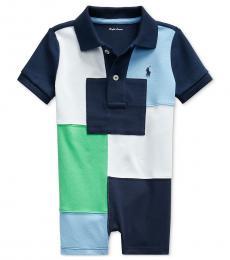 Ralph Lauren Baby Boys Navy Patchwork  Polo Shortall