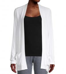 DKNY White Ribbed Open Front Cardigan