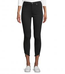7 For All Mankind Night Black Gwen Frayed Cuff Ankle Jeans