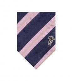 Versace Navy Pink Dual Striped Tie