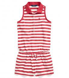 Ralph Lauren Girls Nantucket Red Striped Mesh Polo Romper