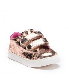 Juicy Couture Baby Girls Rose Gold Mirror Metallic Sneakers